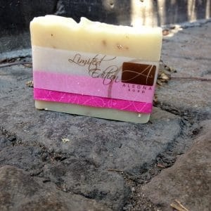 Alegna Soap Lavender Oatmeal soap on NYC cobblestone street