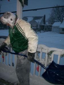 Bri shoveling