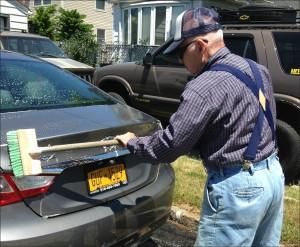 dad washing car