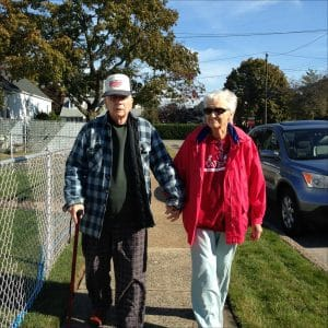 mom and dad walking